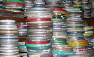Stacks of 16mm film cans